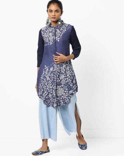 Printed Shirt Tunic With Curved Hemline By IMARA ( Blue )