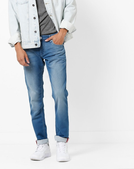 Lightly Washed Mid-Rise Skinny Jeans By INTEGRITI ( Stone )