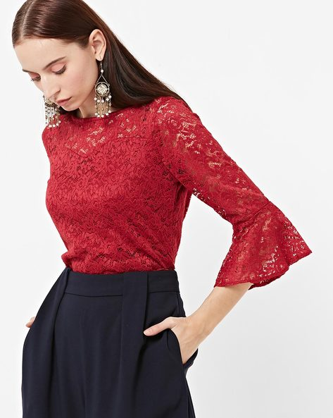 Floral Lace Round-Neck Top By FABALLEY ( Red )