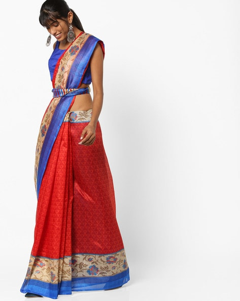 Printed Art Silk Saree With Contrast Border By CHHABRA 555 ( Red )