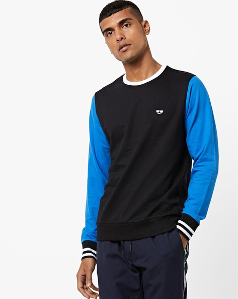 Colourblock Crew-Neck Sweatshirt By Garcon ( Blue )