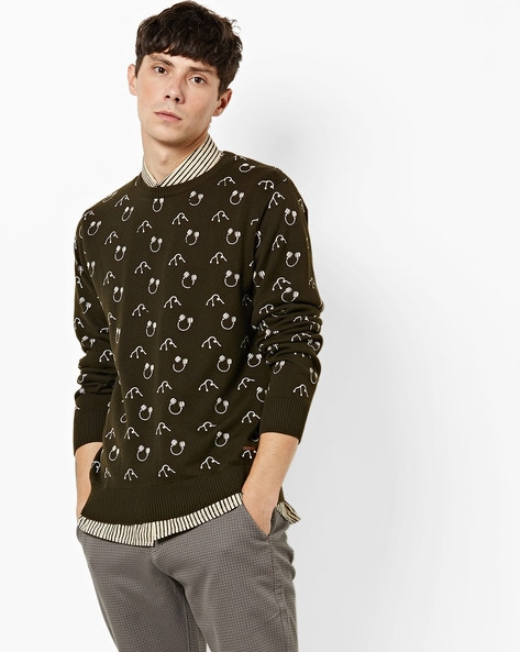 Headphone Print Pullover With Ribbed Hems By AJIO ( Olive )