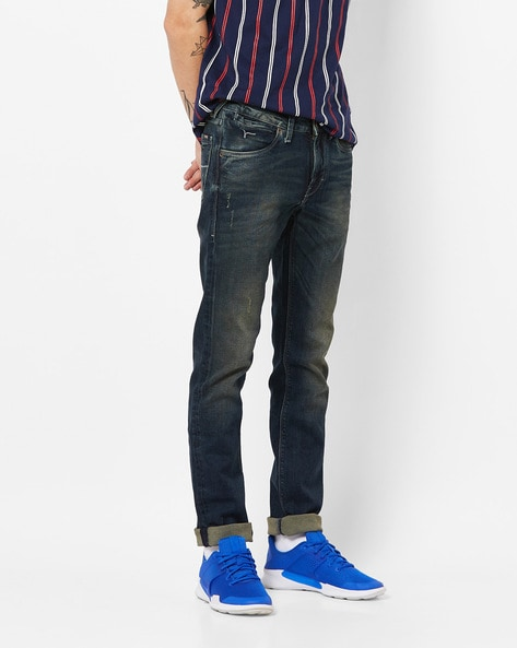 Mid-Wash Skinny Distressed Jeans By FLYING MACHINE ( Blue )
