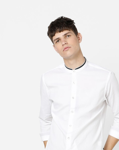 Slim Fit Striped Shirt With Mandarin Collar By FLYING MACHINE ( White )