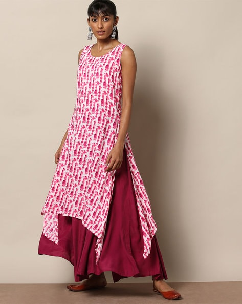 Printed Sleeveless Straight Kurta With Handkerchief Hem By Project Eve IW Fusion ( Pink )
