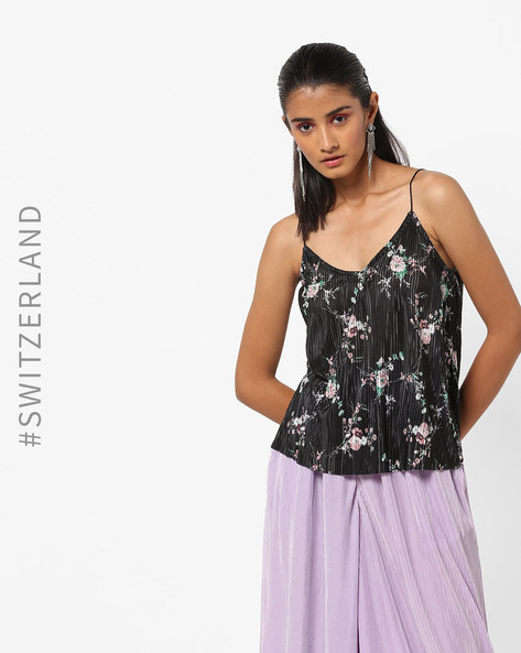 Floral Print Pleated Strappy Top By TALLY WEiJL ( Black )