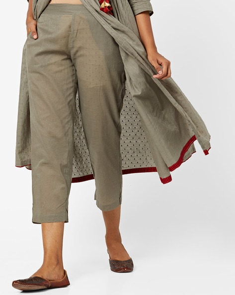 Swiss-Dot Mid-Rise Ankle-Length Pants By AJIO ( Olive )