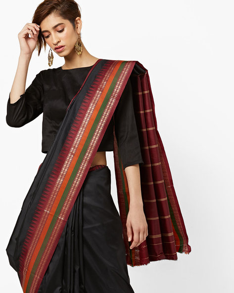 Art Silk Saree With Striped Pallu By Amori ( Black )