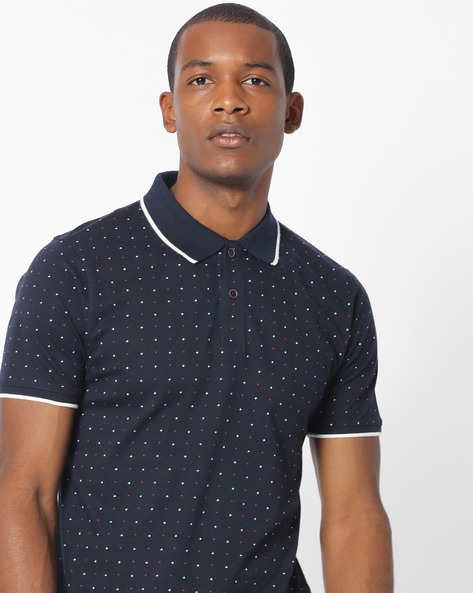 Polka-Dot Print Polo T-shirt By NETPLAY ( Navy )