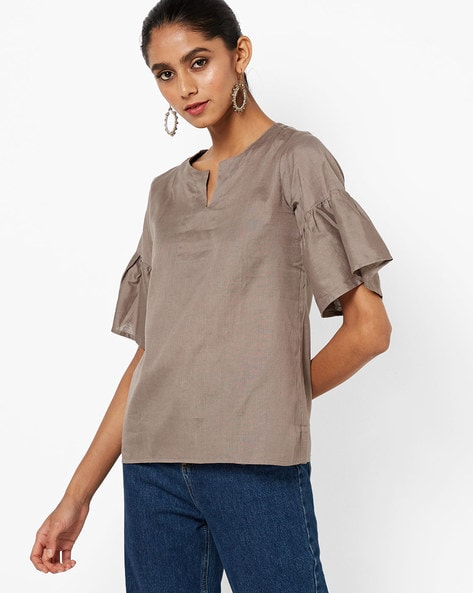 Cotton Top With Bell Sleeves By Rigoglieoso ( Grey )