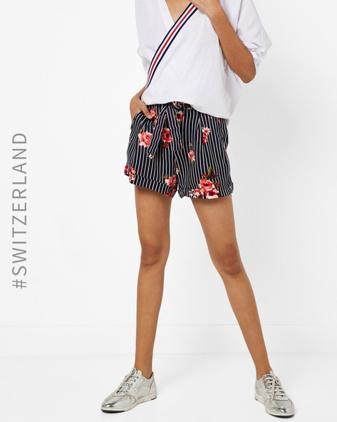 Mid-Rise Striped Shorts With Floral Print By TALLY WEiJL ( Red )