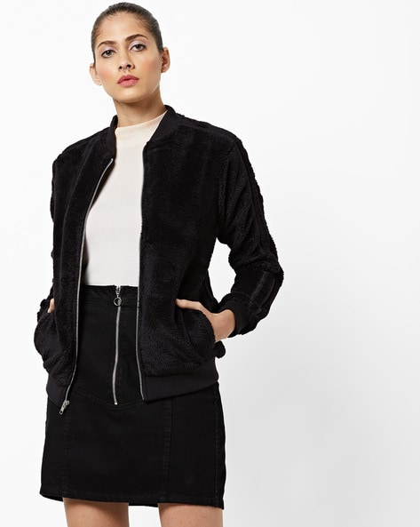 Zip-Front Jacket With Slip Pockets By AJIO ( Black )