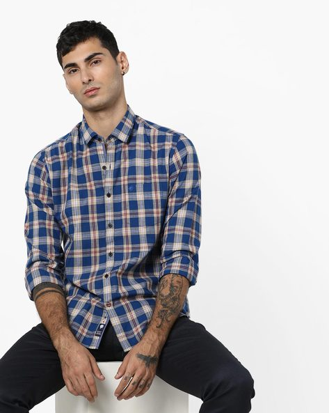 Checked Slim Fit Shirt With Spread Collar By NETPLAY ( Beige )