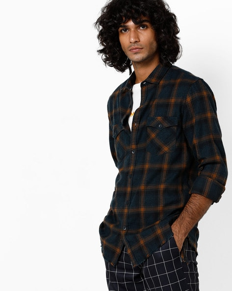 Checked Slim Fit Shirt With Flap Pockets By AJIO ( Olive )