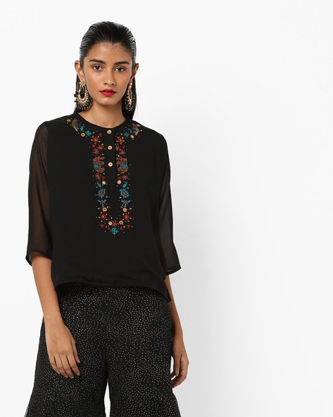 Round-Neck Top With Hand Embroidery By AJIO ( Black )