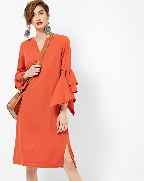 Shift Dress With Tiered Panelled Sleeves By Femella ( Rust )