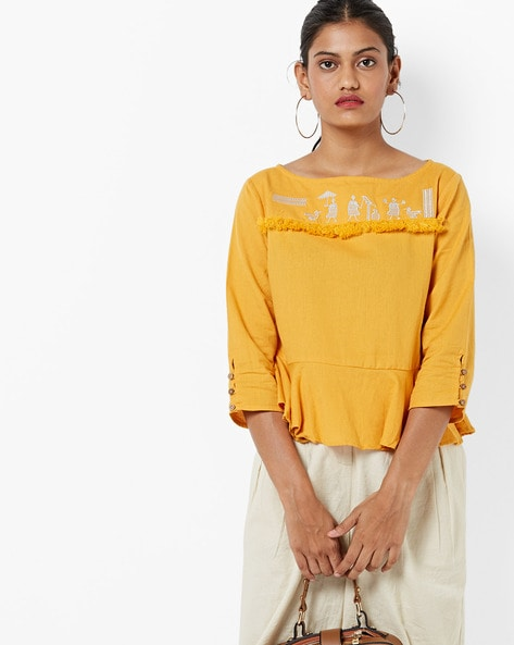 Peplum-Style Tunic With Placement Embroidery By AJIO ( Yellow )