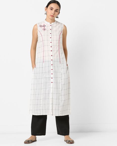 Checked Sleeveless Kurta With Embroidery By AJIO ( Offwhite )