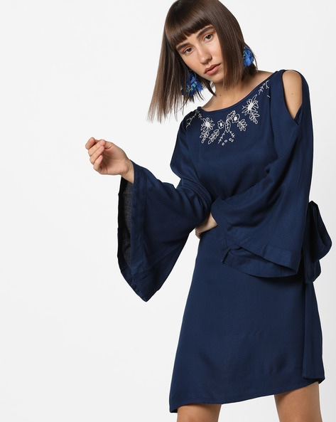 Embroidered Dress With Bell Sleeves By AJIO ( Navy )