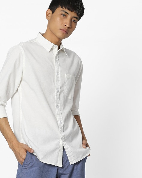 Linen Slim Shirt With Patch Pocket By Blue Saint ( White )