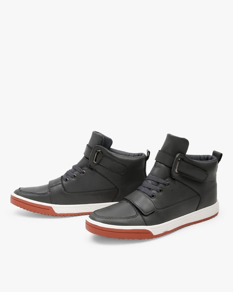 High-Top Lace-Up Sneakers With Velcro Closures By AJIO ( Grey )
