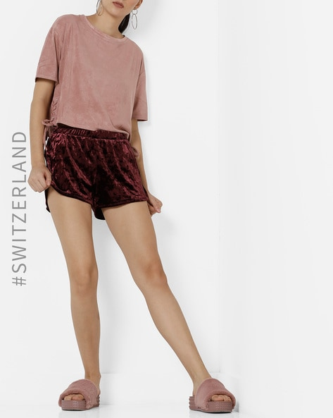 Knitted Velvet Shorts With Elasticated Waist By TALLY WEiJL ( Wine )