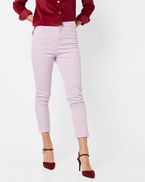 Mid-Rise Skinny Fit Ankle-Length Jeans By AJIO ( Lilac )