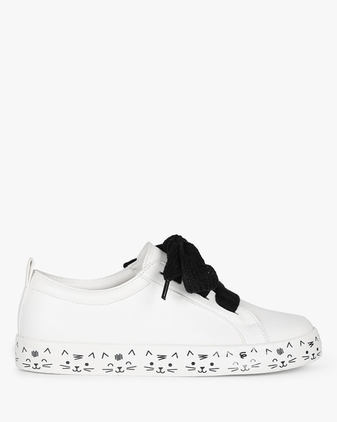 Low-Top Sneakers With Printed Midsole By AJIO ( White ) - 460229090001