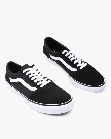 Maddie Panelled Lace-Up Casual Shoes By Vans ( Black )