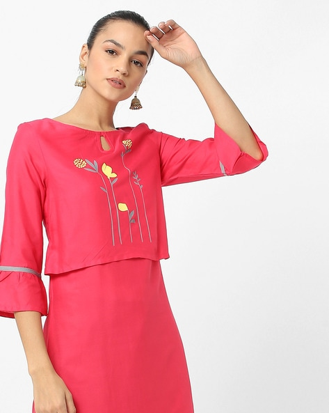 Floral Print Panelled Kurta With Flared Sleeves By ARSHI ( Pink )