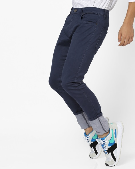 Mid-Rise Slim Fit Flat-Front Trousers By DNMX ( Navy )