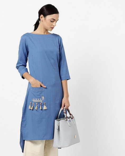 High-Low Straight Kurta With Embroidered Pocket By AJIO ( Blue )