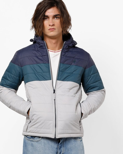 Colourblock Hooded Quilted Jacket By JOHN PLAYERS ( Blue )