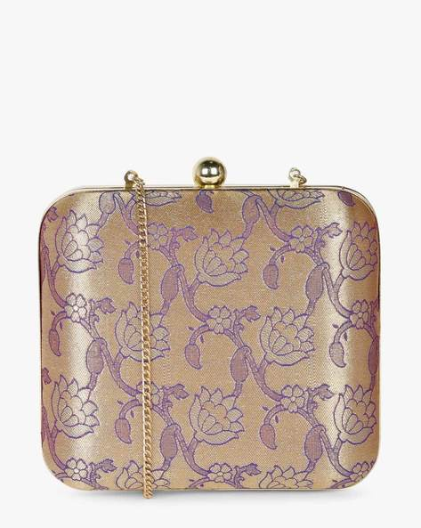 Woven Floral Box Clutch With Chain Strap By Studio B40 ( Purplegold )