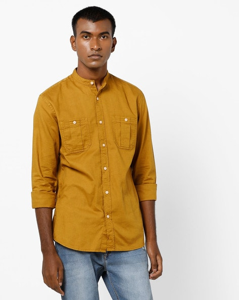 Slim Fit Shirt With Mandarin Collar By Jack & Jones ( Brown )