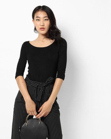 Knitted Scoop-Neck Top By CODE By Lifestyle ( Black )