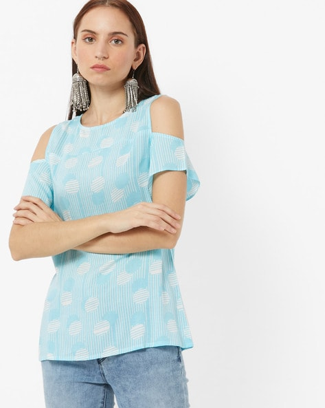 Striped Polka-Dot Print Cold-Shoulder Top By AND ( Turq )