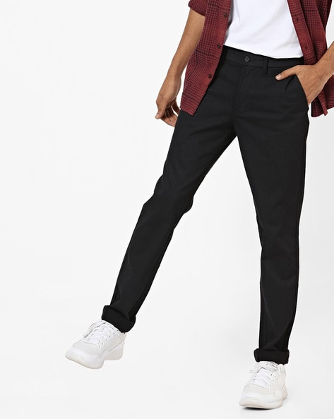 Flat Front Tapered Fit Trousers By BASICS ( Black )