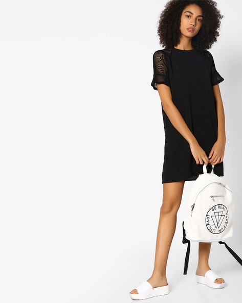 Shift Dress With Mesh Sleeves By Femella ( Black )