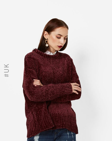 Pullover With Drop-Shoulder Sleeves By BRAVE SOUL ( Wine )