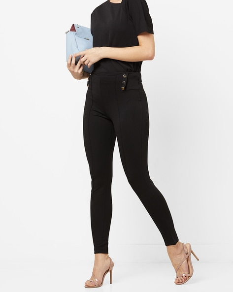 High-Rise Flat-Front Ankle-Length Trousers By AJIO ( Black )