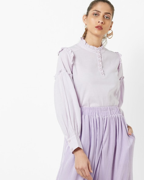 Full Sleeves Top With Ruffles By AJIO ( Lilac )