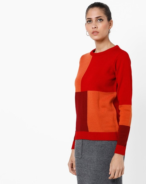 Colourblock Round-Neck Pullover By AJIO ( Orange )