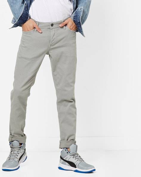 Mid-Rise Slim Fit Flat-Front Trousers By Jack & Jones ( Grey )