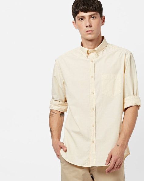 f32552a208 INDIAN TERRAIN Yellow Classic Slim Fit Printed Shirt with Button-Down Collar
