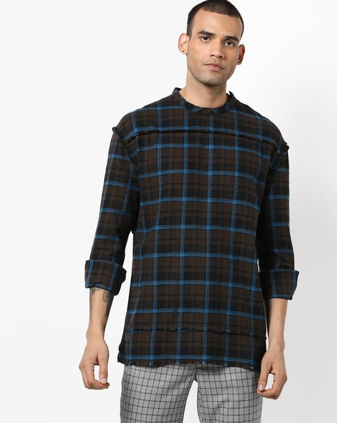 Checked Slim Shirt With Frayed Trims By AJIO ( Brown )