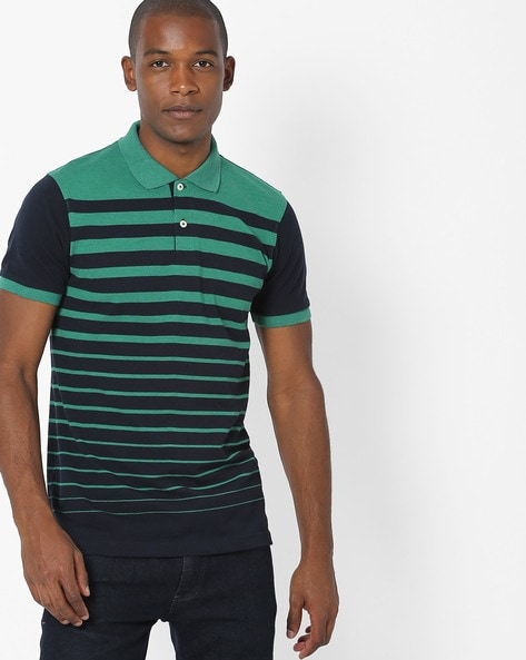 Variegated Stripe Polo T-shirt By NETPLAY ( Green )