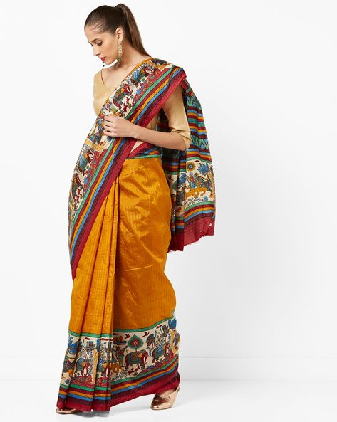 Printed Art Silk Saree With Contrast Borders By Amori ( Mustard )