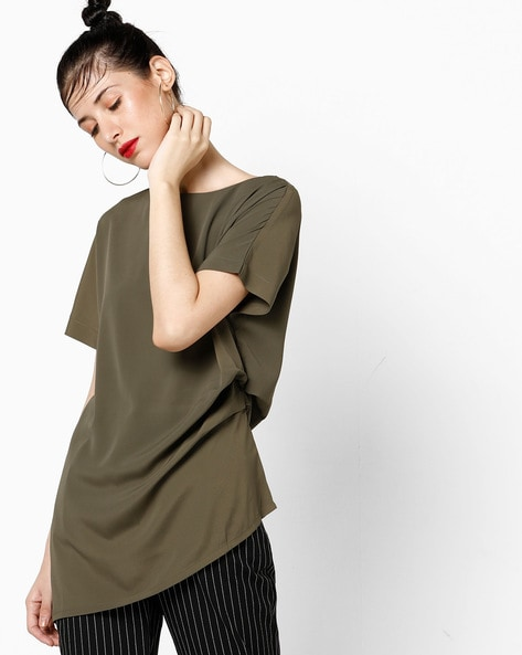 Panelled Top With Asymmetric Hem By AJIO ( Olive )
