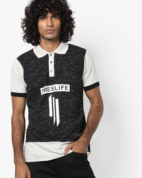 Heathered Polo T-shirt With Graphic Print By Campus Sutra ( Charcoal )